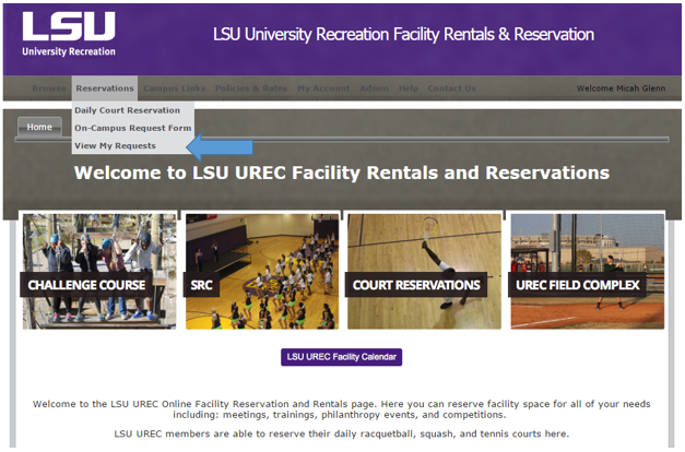 LSU UREC Cancel a Booking