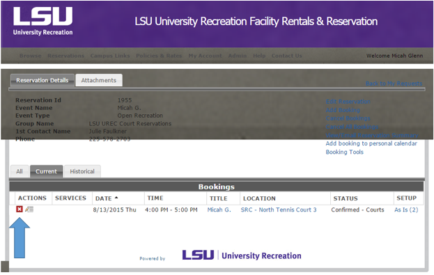 LSU UREC Cancel a Court Booking