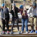 four people starting challenge course