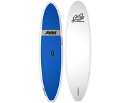 Photo of two paddle boards one blue and one white