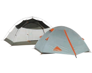 Photo of two grey tents