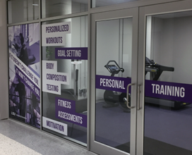 Photo of outside view of Personal Training room door