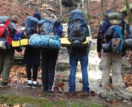 7 people on a hike
