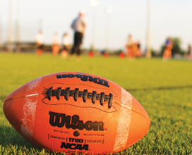 photo of football in grass