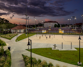 Photo of outdoor volleyball court and Tennis courts at night